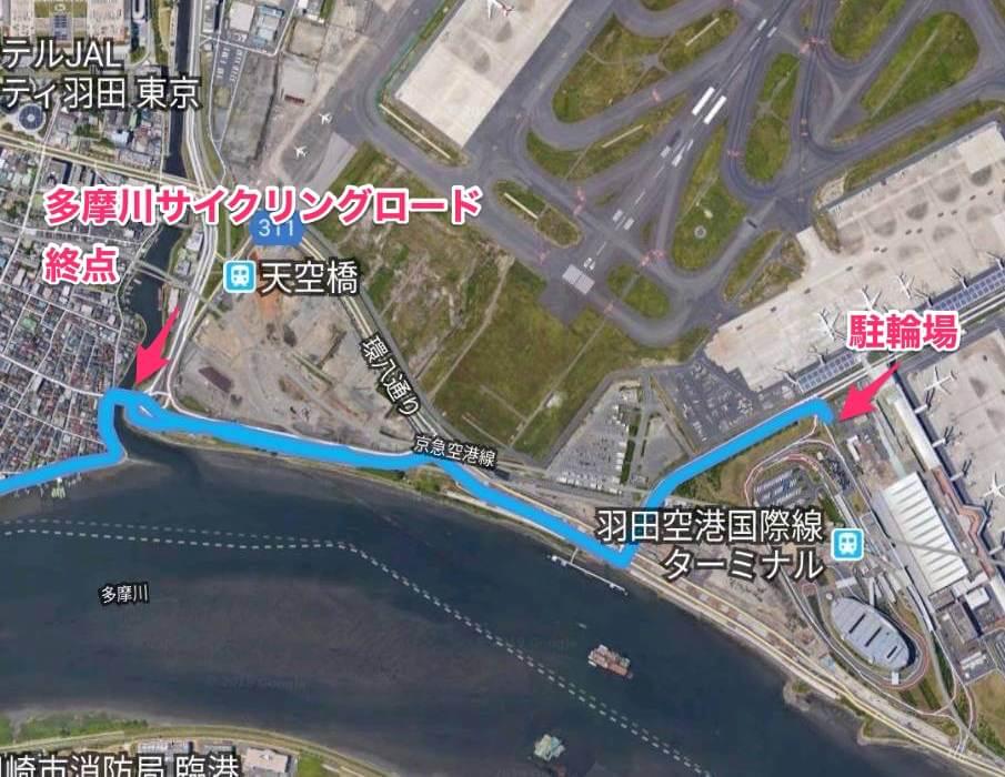 多摩川サイクリングロードから羽田空港までのサイクリングコース