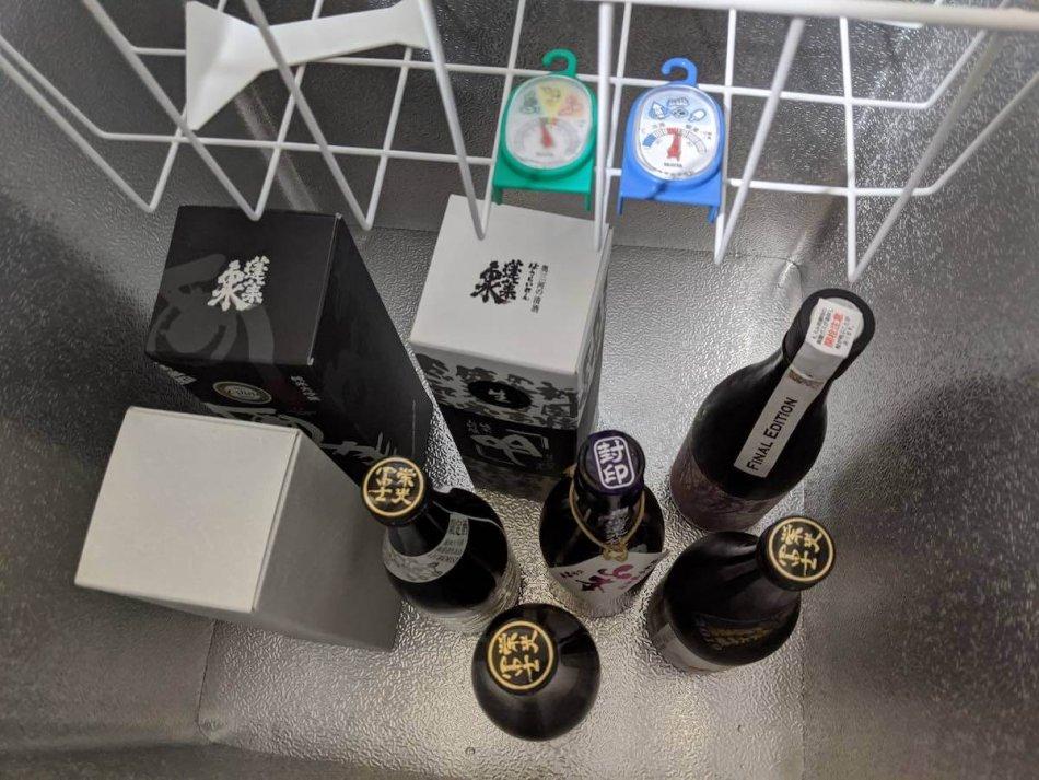 日本酒を日本酒用冷蔵庫に入れたところ