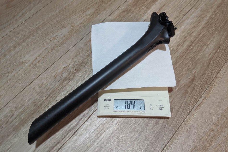 Prime Primavera カーボンシートポストの重量は184g(31.6mm)